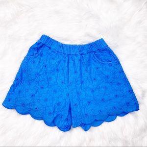 Mini Boden Blue Eyelet Shorts Size 5